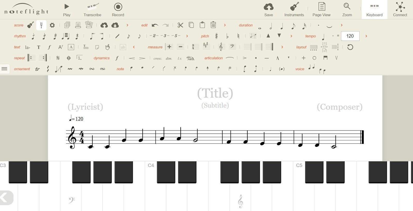 超精緻,絕美設計的線上打譜軟體NoteFlight