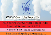 Nuclear Power Corporation of India Limited Recruitment 2017– 80 Trade Apprentices
