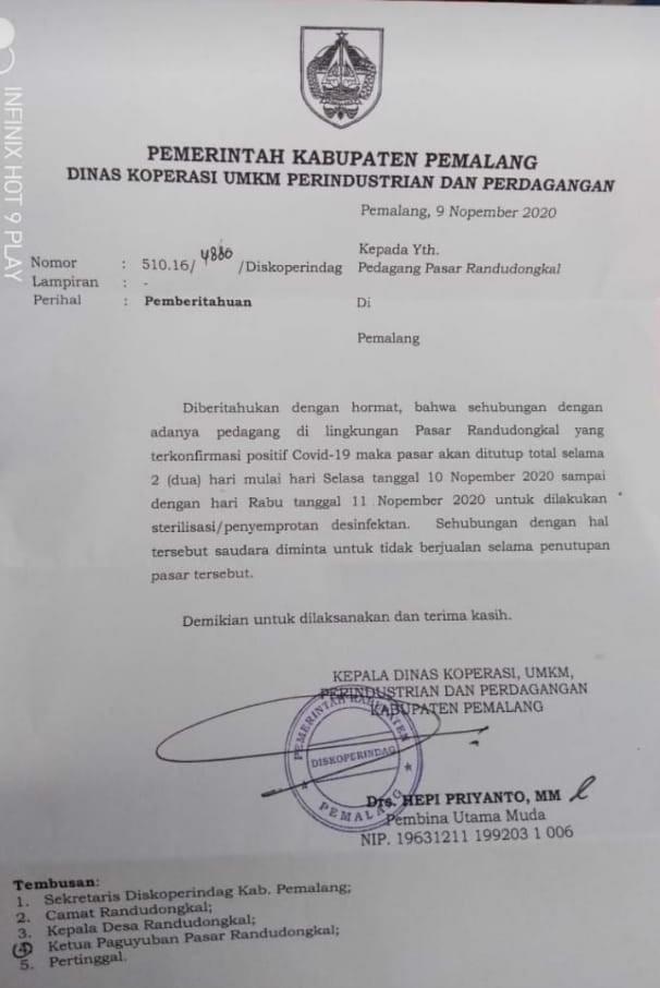 Pedagang Terkonfirmasi Covid-19, Pasar Randudongkal Ditutup Dua Hari