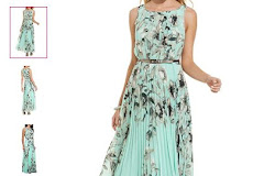 7330d22a175 Floral Print Maxi Dress - Turquoise Sleeveless Pleated Skirts Belted