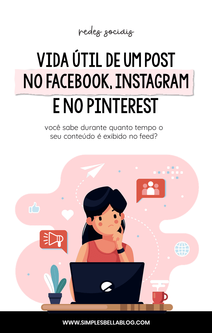 Vida útil de um post no Facebook, Instagram, Twitter e Pinterest