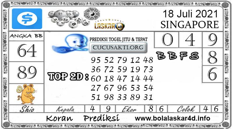 Prediksi Togel SINGAPORE POOLS LASKAR4D 18 JULI 2021