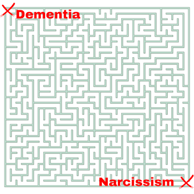 image of a labyrinth with the exits closed off, one by dementia, one by narcissism