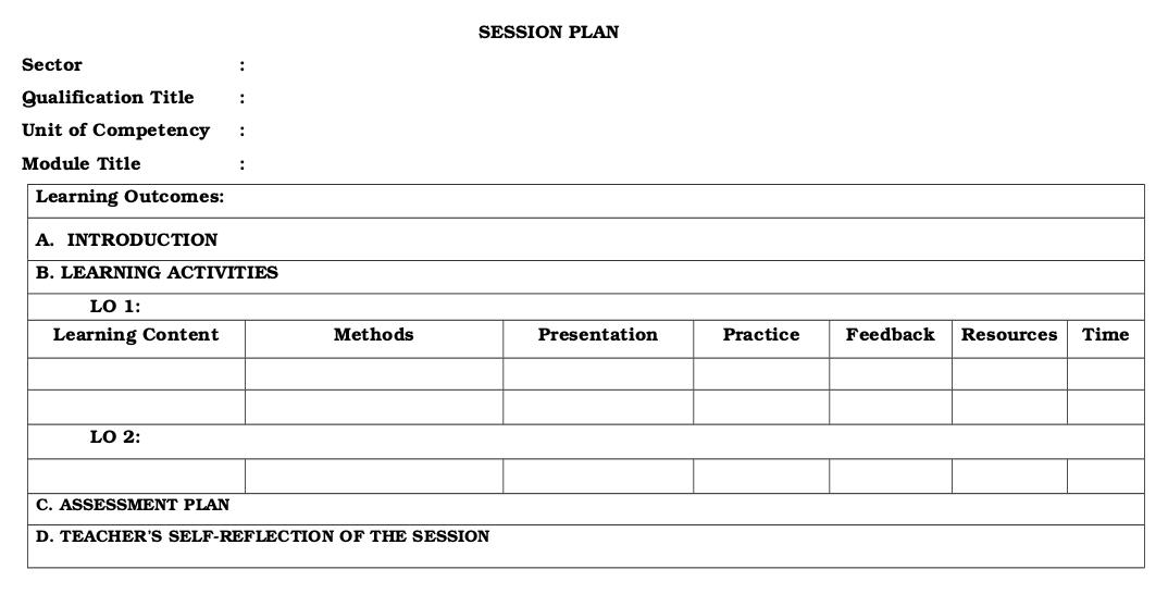 Session plan.