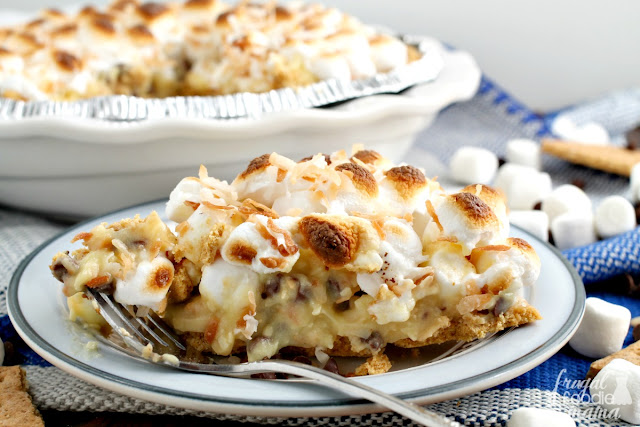 A favorite classic pie & a popular summertime treat come together perfectly in this no-bake S'mores Coconut Cream Pie.