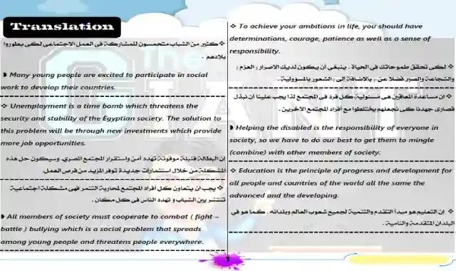 اجمل مذكرة ترجمة للمرحلة الثانوية 2021 اعداد مستر عبدالرحيم حسن