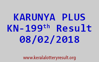 KARUNYA PLUS Lottery KN 199 Results 08-02-2018