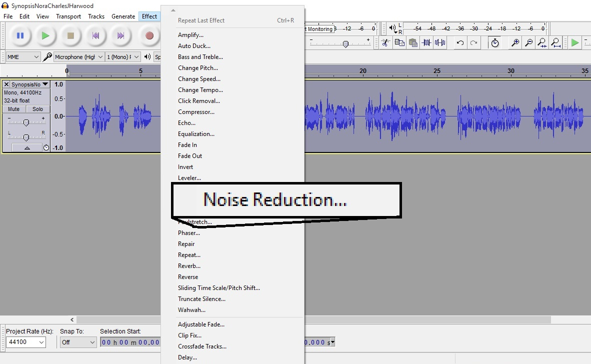 The Audiobook Narrator: How to Use Noise Removal with