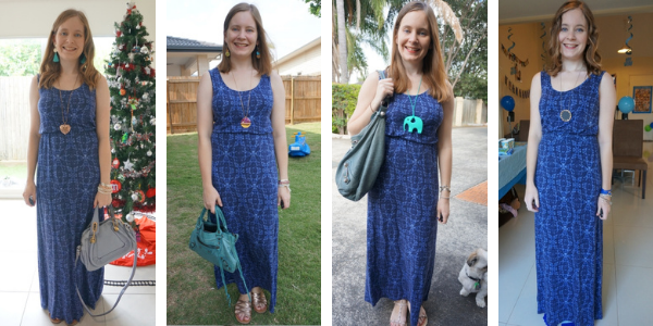 4 blue accessory outfit ideas for a navy printed maxi dress  monochrome awayfromblue