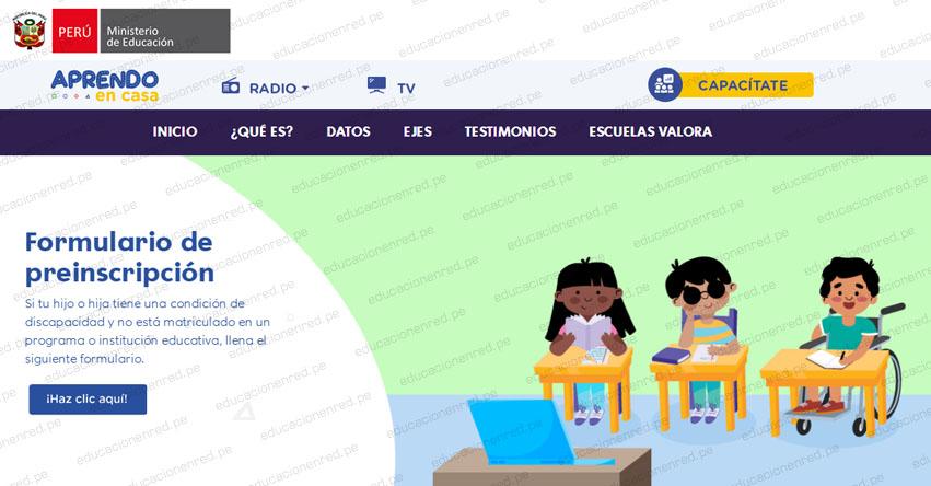 MINEDU: Preinscripción 2021 para Niños y Jóvenes con Necesidades Educativas Especiales [FORMULARIO OFICIAL]