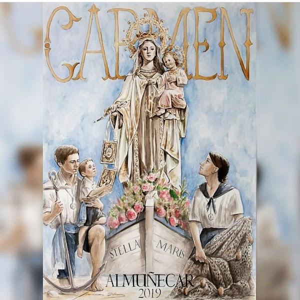 Cartel anunciador de la procesión de Nuestra Señora del Carmen de Almuñecar.
