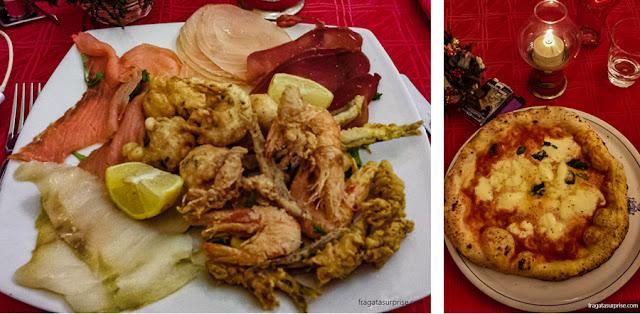 Mariscos fritos e pizza margherita da Pizzeria Brandi, em Nápoles