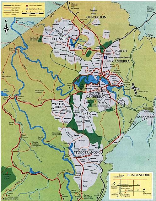 Mapa  de Camberra - Austrália