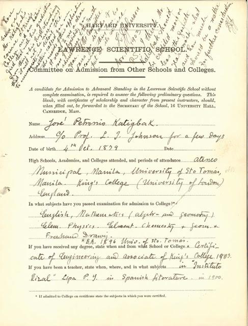 Jose Petronio Katigbak's Harvard Admission paper.  Image source:  Renz Marion D. Katigbak.