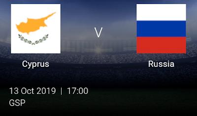 LIVE MATCH: Cyprus Vs Russia UEFA Euro 2020 Qualifiers 13/10/2019