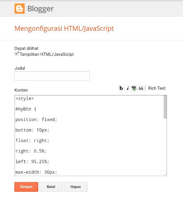 gadet atau widget HTML/Javascript blogger