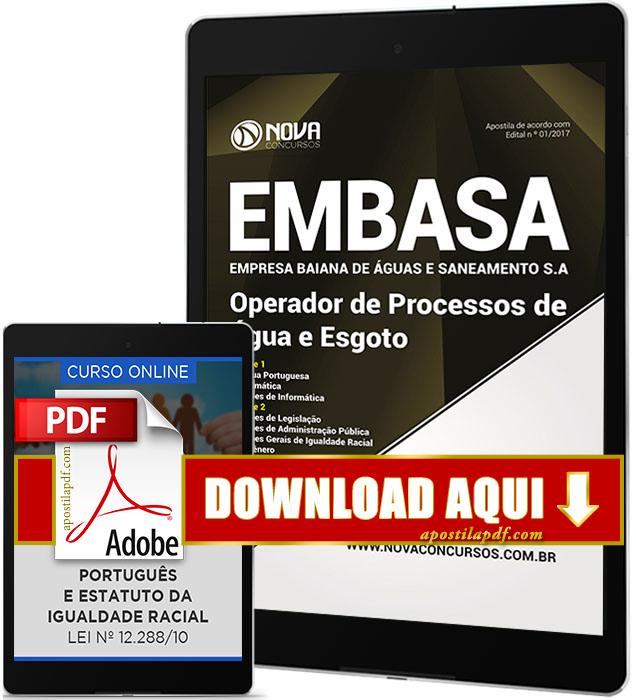 Apostila EMBASA 2017 PDF Download Operador de Processos de Água e de Esgoto