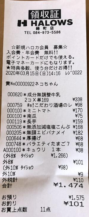 ハローズ 緑町店 2020/3/15 のレシート