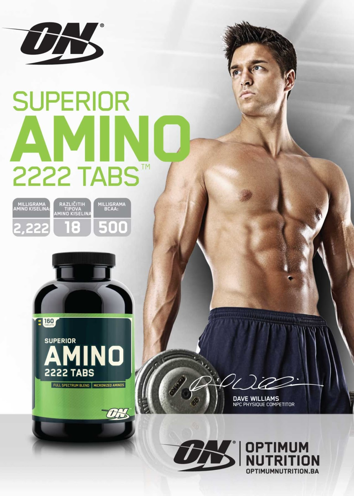ON's Superior Amino 2222 Tabs provide 2,222 milligrams of 18 different  amino acids to add to the amount you take in through protein shakes,  protein bars and ...
