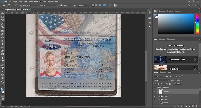 USA PASSPORT EDITABLE PSD TEMPALTE 02