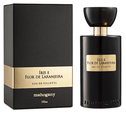 Frasco e caixa do perfume Íris e Flor de Laranjeira, Eau de Toilette da Mahogany