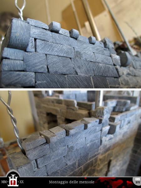 Inserimento delle mensole in pietra per i travetti