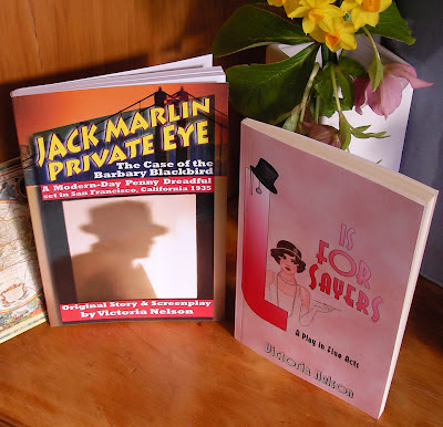 """Jack Marlin Private Eye"" filmscript and ""L is for Sayers"" play by author Victoria Nelson, cover design by Kura Carpenter"