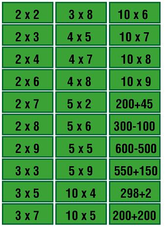 tarjetas de bingo con operaciones