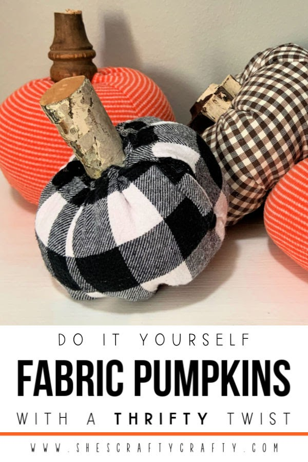 DIY Fabric Pumpkins with a twist |  Use thrift store shirts and repurposed wood pieces to make pumpkins for Fall/Halloween