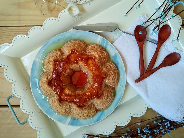 Flan de manzana en Crockpot (olla de cocción lenta). Receta sencilla, fácil y rápida que sabe y huele a otoño.Postre merienda Caramelo Baño maría Cuca