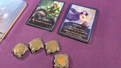 Aquatica king card, starting characters and trained manta miniatures