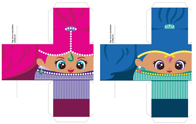 Shimmer and Shine Free Printable Cube Boxes.