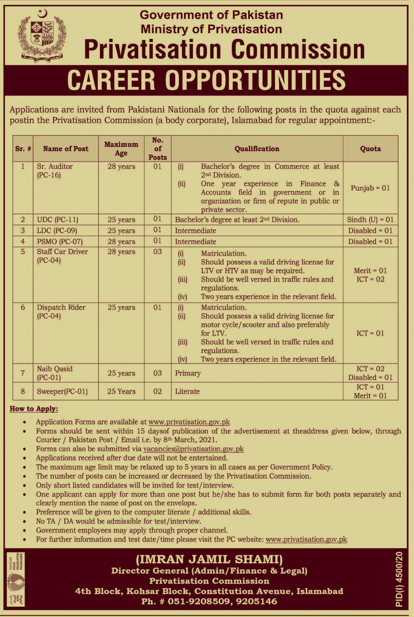Jobs in Privatisation Commission Pakistan Govt 2021