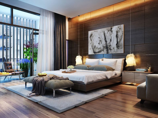 Phòng ngủ nam giới với không gian mở