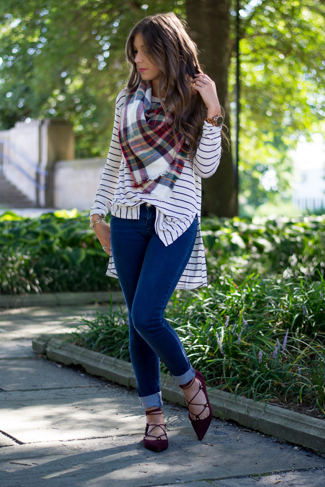 Wear stripes with plaid
