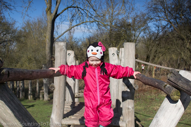 A toddler on a wooden walkway