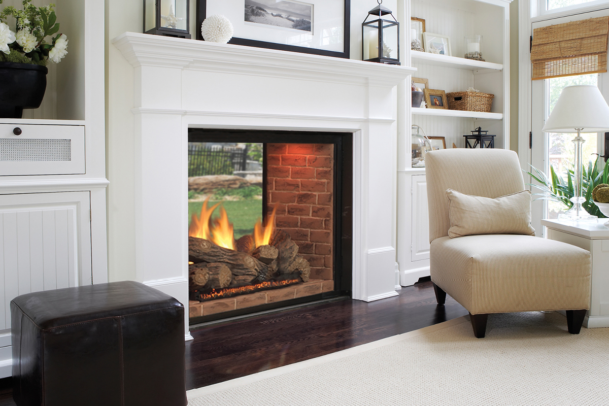 Live with what you love delightful see through fireplace for Indoor and outdoor fireplace