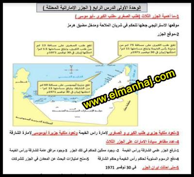 حل درس قضية الجزر الاماراتية الثلاث المحتلة للصف الثامن