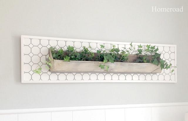 DIY tiled wall garden from a repurposed chicken feeder