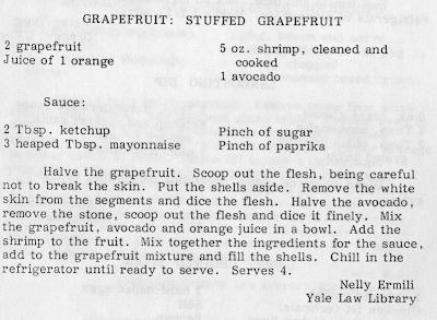 Recipe for Stuffed Grapefruit. Recipe involves combining grapefruit flesh with organge juice, avocado, and shrimp.