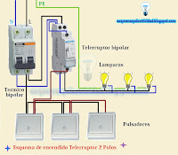Esquema eléctrico encendido telerruptor 2 polos
