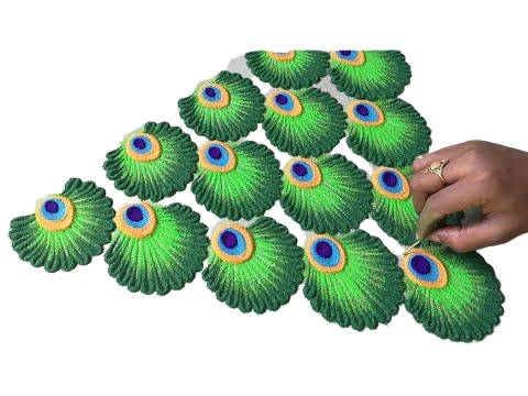 latest rangoli design of peacock