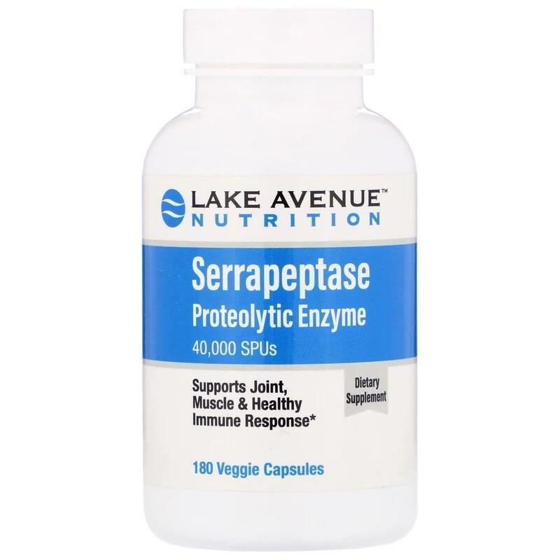 Lake Avenue Nutrition, Serrapeptase, Proteolytic Enzyme, 40,000 SPUs, 180 Veggie Capsules