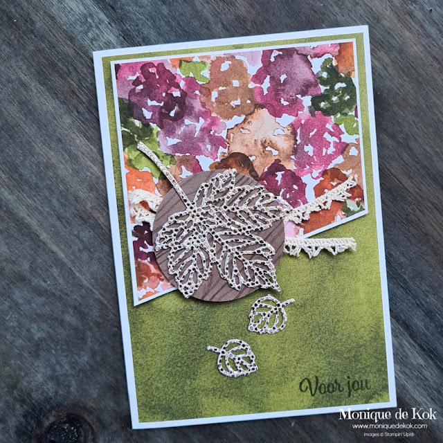 Voor jou, zelfgemaakte kaart, Stampin Up, herfsttinten, schets, bladeren, Stampin met Monique