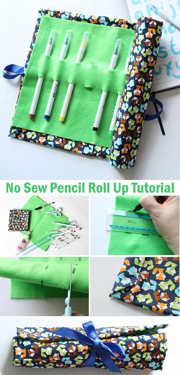No Sew Pencil Roll Up Tutorial