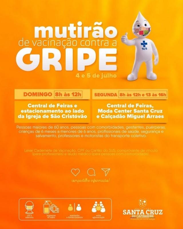 Santa Cruz do Capibaribe terá dia D de vacinação contra gripe