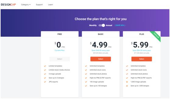 DesignCap price plans