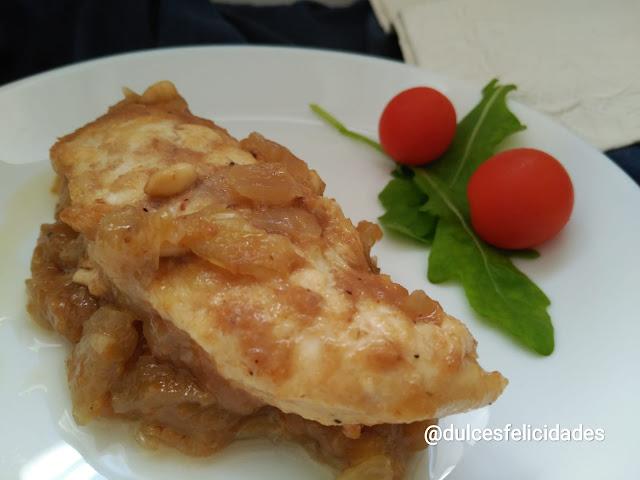 Solomillo de pollo con salsa de dulce de membrillo