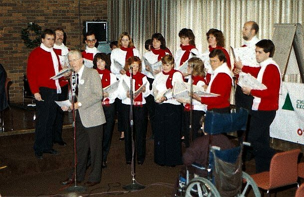 Way back in the 80's - The Stairwell Carollers help out the Christmas Exchange broadcast