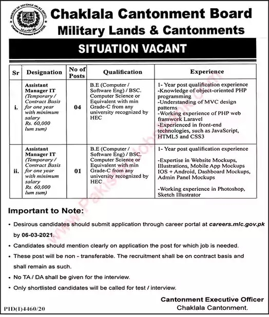 Latest Jobs in Pakistan in IT Manager Jobs in Military Lands and Cantonments Department Jobs 2021